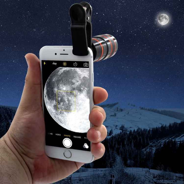 Mobile phone looking at the moon